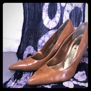 Caramel colored brown Dollhouse heels